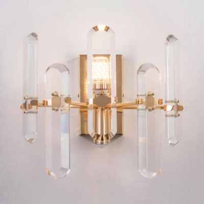 Metal Square Wall Lamp with Clear Crystal 1 Light Simple Style Sconce Light for Dining Room