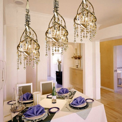 Metal Twist Mini Hanging Lamp with Crystal Bead Coffee Shop 4 Heads Rustic Style Chandelier in Gold