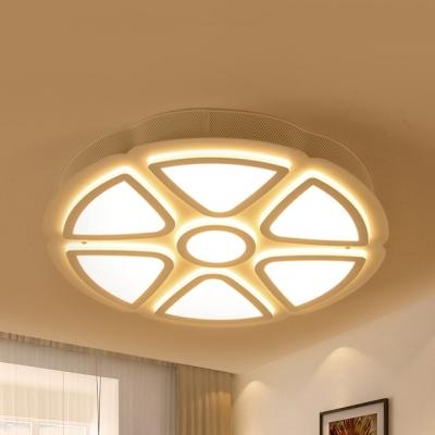 Modern Style White Ceiling Lamp Blossom Acrylic LED Flush Mount Light in Warm/White for Living Room