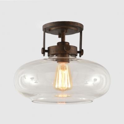 Restaurant Drum Shade Ceiling Light Clear Glass One Head Industrial Rust Flush Mount Light