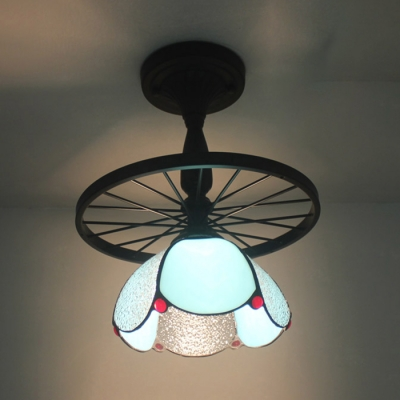 Rustic Style Wheel Semi Ceiling Mount Light with Dome Shade Art Glass 1 Head Black Ceiling Lamp for Kitchen