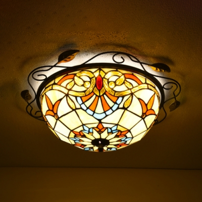 Flush Mount Light Stained Gl Ceiling