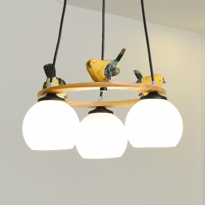 3/4/5 Lights Globe Shade Chandelier with Bird Modern Stylish Milk Metal Light in White for Bedroom