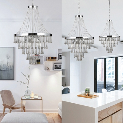 Ring Dinging Room Pendant Light with Crystal Metal Postmodern Chandelier in Chrome Finish