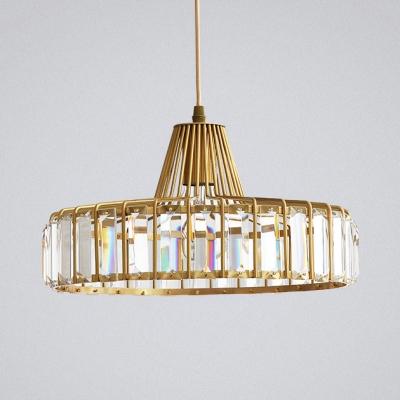 Elegant Modern Drum Pendant Light Metal 1 Light Gold Mini Chandelier with Crystal Decoration for Bedroom