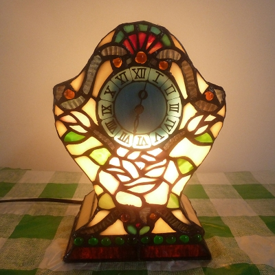 Stained Glass Flower/Victorian Night Light with Clock Bedside Table 1 Light Creative Table Lamp