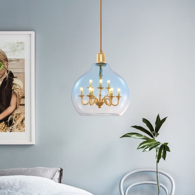 Metal Candle Pendant Lamp with Orb Shade 9 Lights Traditional Blue/Clear Chandelier for Living Room