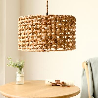Beige Drum Shape Hanging Lamp 1 Bulb Rustic Style Rattan Pendant Light for Cafe Restaurant