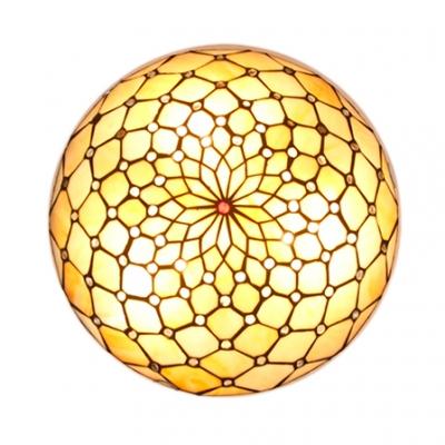 Beige Umbrella Flush Mount Light Simple Style Art Glass Ceiling Light with Bead for Corridor