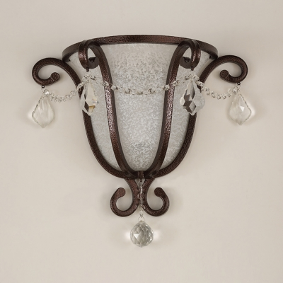 Bell Sade Bathroom Wall with Crystal Deco Frosted Glass 1 Head Antique Style Sconce Light