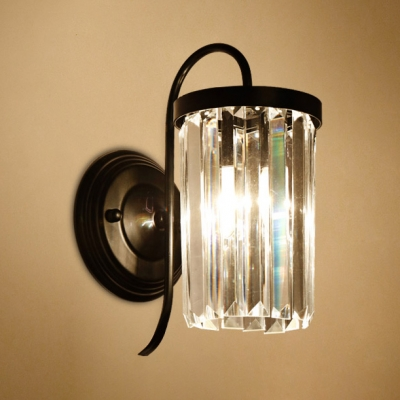 Black/Gold Cylindrical Wall Sconce 1 Light Simple Style Clear Crystal Sconce Light for Bathroom