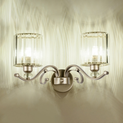Clear Crystal Cylindrical Wall Sconce 1/2 Head Modern Style Sconce Lamp in Gold for Hotel