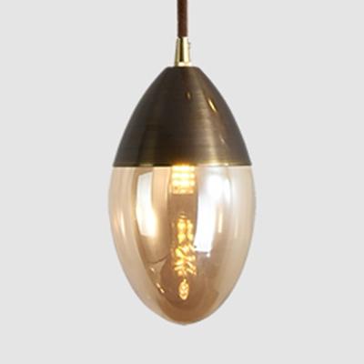 Ellipse Glass Shade Mini Pendant Light Post Modern Amber/Clear Hanging Lamp for Bar Cafe Restaurant