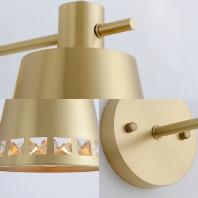 Gold Bucket Shade Wall Light with Crystal 1 Light Modern Stylish Metal Sconce Light for Kitchen
