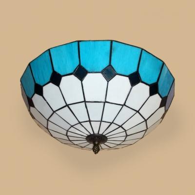 Lattice Domed Flush Mount Light Tiffany Traditional Art Glass Ceiling Lamp for Dining Room