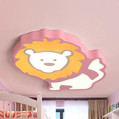 Lion Boys Bedroom Ceiling Light Metal Animal Warm/White Lighting LED