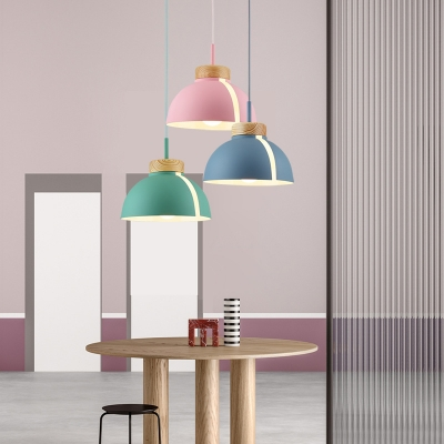 Metal Dome Shade Hanging Light Fixture Macaron Wood Finish Single Pendant Lamp in Multi Colors