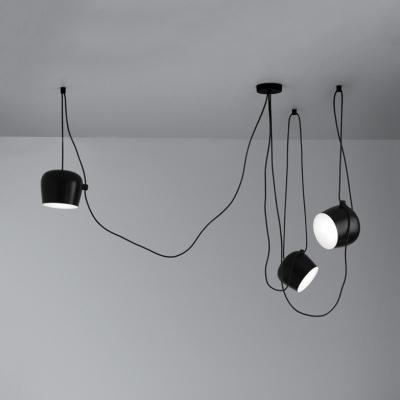 Metal Urn Pendant Light Cloth Shop 1/3 Lights Contemporary Ceiling Light in Black/White