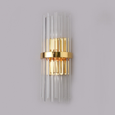 Modern Style Cylinder Wall Light Clear Glass 2 Lights Gold Wall Sconce for Living Room Bedroom