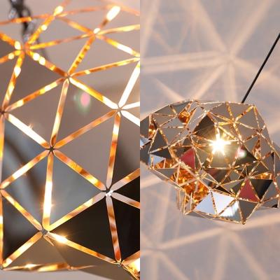 Polyhedron Cloth Shop Pendant Light Metal 1/3 Lights Modern Style Hanging Light in Chrome