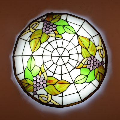 Tiffany Dragonfly/Flower/Grape Flush Mount Light Stained Glass Ceiling Lamp for Dining Room