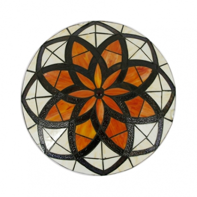 Tiffany Multi-Color Flush Mount Light Lotus Pattern Glass Ceiling Lamp for Villa Hotel