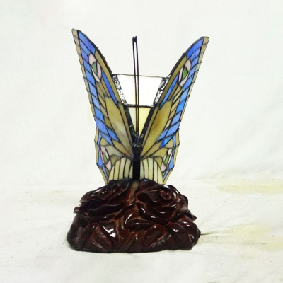 Animal Tiffany Night Light Butterfly 1 Bulb Stained Glass Table Light in Blue/Purple for Child Bedroom