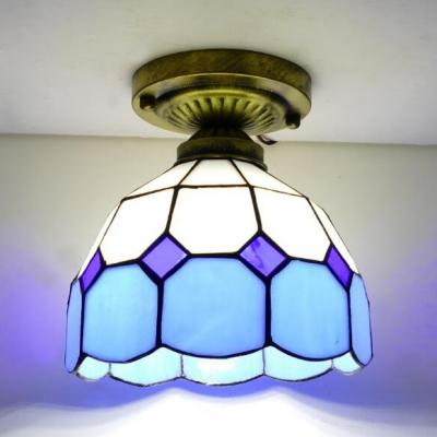 Art Glass Lattice Domed Ceiling Lamp Dining Room 1 Light Vintage Tiffany Flush Mount Light