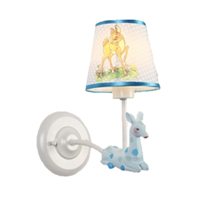 1 Bulb Sitting Deer Wall Lamp Lovely Resin Sconce Light with Dot Shade in Blue/Pink for Game Room