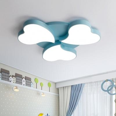 Acrylic Heart LED Flush Mount Light Study Room 3/4 Heads Cartoon Ceiling Lamp in Black/Blue/Pink/White