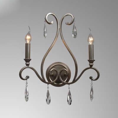 Aged Steel Candle Wall Light with Teardrop Crystal 2 Heads Traditional Metal Sconce Light for Restaurant