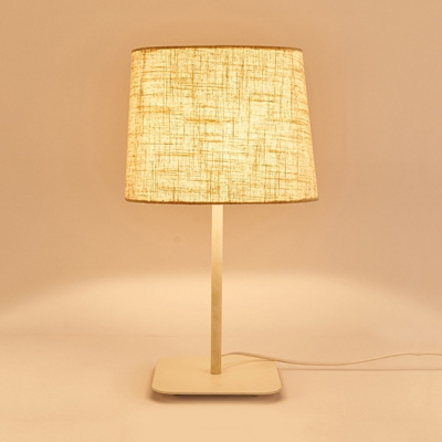 Beige/Black Square Desk Lamp Modern Simple Linen Shade 1 Light Table Lamp for Bedside