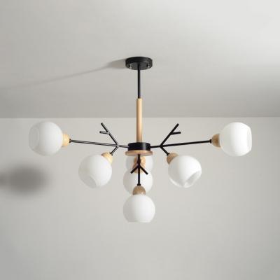 Black Branch Pendant Light 7/13 Lights Modern Style Open Glass Chandelier for Study Room