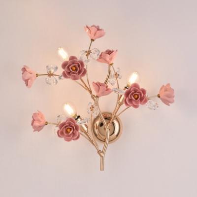 Ceramics Flower Wall Light with Flower Living Room 3 Lights Elegant Style Sconce Light in Green/Pink/White