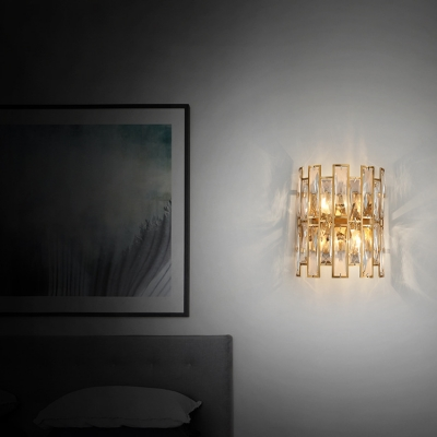 Clear Crystal Fence Sconce Light Bedroom Living Room Traditional Style Wall Lamp in Gold