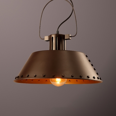Trapezoid Cloth Shop Hanging Light Metal 1 Head Industrial Pendant Light in Bronze Finish