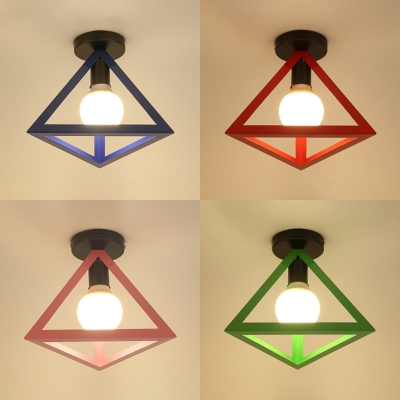 Metal Triangle Shade Ceiling Mount Light 1 Light Simple Style Ceiling Lamp for Bathroom Foyer