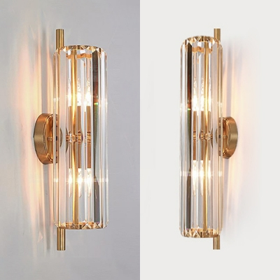 Luxurious Gold Wall Light Flute Shape 2 Heads Metal Striking Crystal Wall Sconce for Kitchen