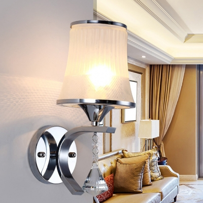 Luxurious Tapered Shade Wall Lamp Metal Single Light Chrome/Gold Wall Light with Crystal for Stair