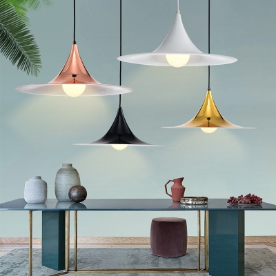 Metal Flared Hanging Light Fixture Modern Metal Shade Single Pendant Lamp in Black/Gold/Rose Gold/White