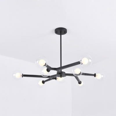 Modo Dining Table Pendant Light Metal 5/9 Heads Contemporary Chandelier in Black/Gold