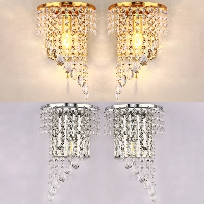 One Light Candle Sconce Light Elegant Stylish Metal Wall Lamp With Clear Crystal In Gold Silver For Hotel Beautifulhalo Com