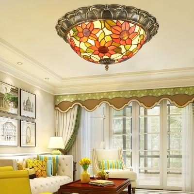 Stained Glass Bowl Flush Mount Light Living Room Tiffany Style Sunflower/Victorian Ceiling Light