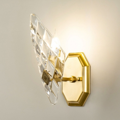 Traditional Candle Wall Light 1/2 Lights Metal Wall Lamp with Crystal Panel in Chrome for Bathroom