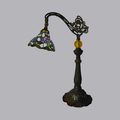 1 Light Desk Light with Cone/Dome/Hexagon Antique Style Tiffany Metal Table Light for Bedroom