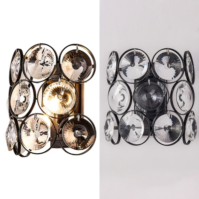 2 Lights Candle Wall Light with Ring Crystal Modern Style Metal Wall Lamp in Black for Living Room