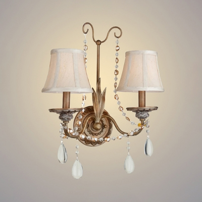 2 Lights Curved Sconce Light with Crystal Bead Antique Style Metal Wall Light in Brass for Bedroom Stair