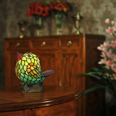 Blue Fat Bird Night Light 1 Light Lovely Tiffany Stained Glass Desk Lamp for Study Room