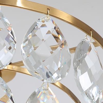 Gold Grape Shaped Suspension Light 1 Light Luxurious Teardrop Crystal Mini Chandelier for Bedroom