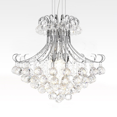 Classic Style Candle Chandelier Metal 4 Lights Chrome Pendant Lamp with Clear/Red/Smoke for Restaurant